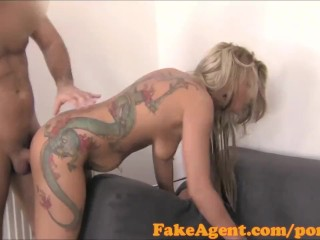 FakeAgent Blonde amateur with dragon tattoo sucks and fucks in Office