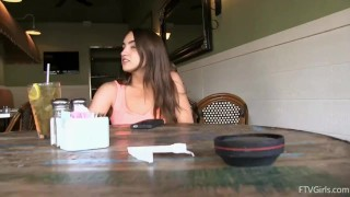 And in brunette sports masturbates restaurant store trimmed brunette