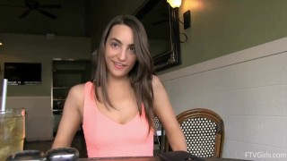 Restaurant in and brunette sports store masturbates pussy flashing