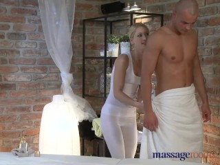 Massage rooms horny girl squirts after hard fuck and gives horny foot job