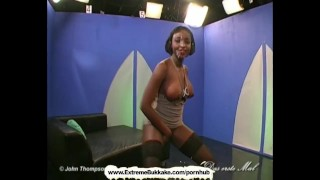 Sexy ebony babe gets shared just like a good bukkake girl porno