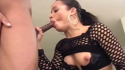 Petite Simone getting fucked in sheer black stockings and high heels