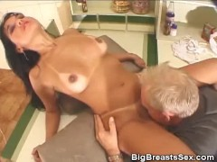 Tits Sucked Busty Honey Gives A Blowjob