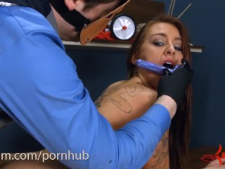 Anal virgin has ass stretched and gets ass to mouth after drawing gape