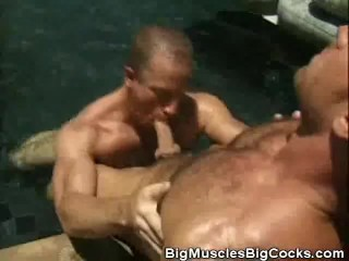 Muscled Hairy Men Cock Sucking By The Pool