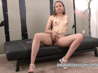 Cute coed vikki is playing with her sweet ebony twat