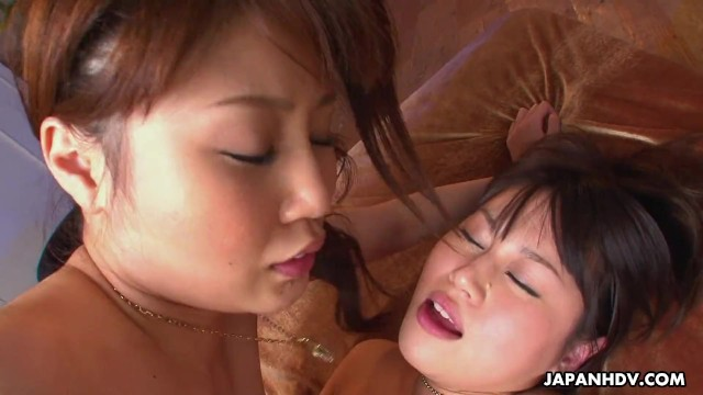 Two cute Japanese babes get shagged hard