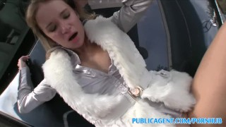 PublicAgent Highlighted blonde in fur coat fucked on car