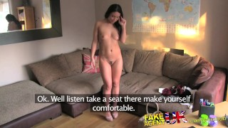 FakeAgentUK Peachy arsed sexy amateur enjoys hard fast sex on couch