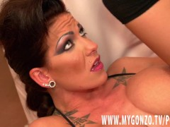 Tattooed German babe Jordan Night with big boobs gets fucked hard by Mugur
