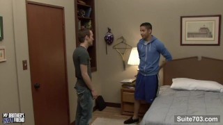 Naughty gays Brice Carson and Lucas Vitello sharing a large toy and fucking