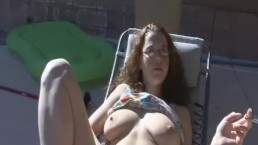 Nerdy Girl Smoking By The Pool