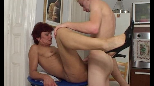 Granny sucks boy - Redhead cougar has her way with young boy