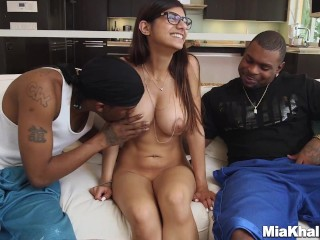 Mia Khalifas With Two Black Monster Dicks