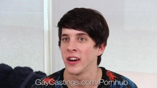 HD - GayCastings Twink loves sex and want people to watch him Cock blowbang