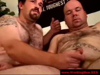 Filthy redneck sucking cock