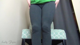 Tight Grey Leggings -Lady Fyre leg & Ass Worship Yoga pants