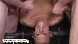 Hot twink Loves it when all those horny fuckers cum on his pretty face