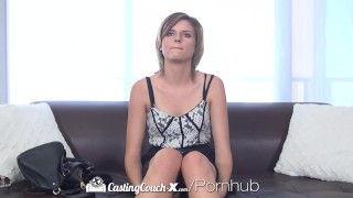 HD CastingCouch-X - Small breasted amateur Scarlett Fever rides big cock