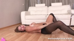 Cutie gets off with pissing fun and sex toys
