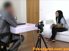 Fakeagent cute brunette gets covered with jizz in casting interview