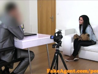 Big Boob Retro Asia Tubes FakeAgent Cute brunette gets covered with Jizz in Casting interview