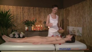 Preview 1 of Massage Rooms Two young brunettes get oiled up for some hot lesbian fun