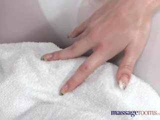 Tubgalore Com Massage Rooms Blonde masseuse screams with joy as she takes massive cock