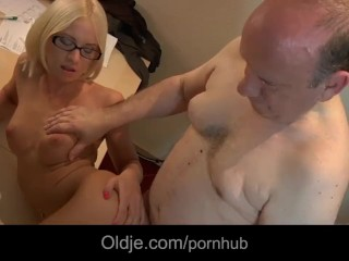 Samanthagauge Com Fucking, Young glassed blonde examines thin old cock particulary Blonde Mature Teen