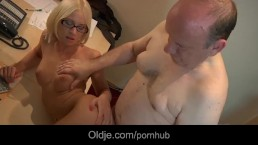 Young glassed blonde examines thin old cock particulary
