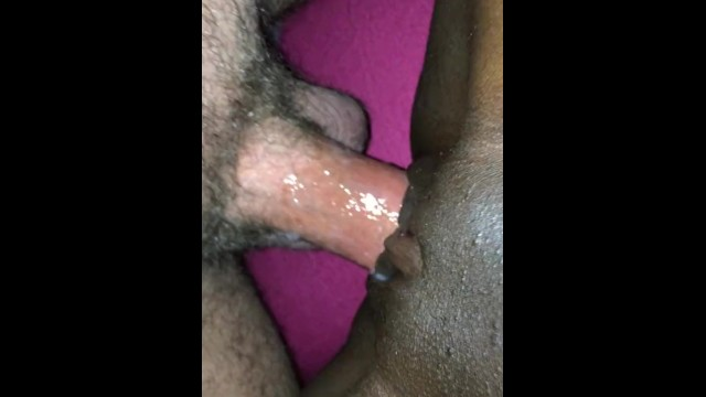 Watch man jack off - White husband wanking and cumming in his black wife pussy