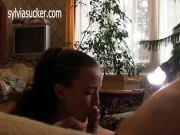 Hot Wife Deep Throat Close Up Blow Job and Cum Swallow Sylvia Chrystall HD.