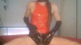 masturbating big cock and nice cumshot in shiny pvc