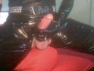 anal pleasure with dildo and nice cumshot in shiny catsuit