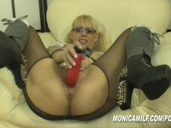 MonicaMilf is so horny that she rips open her pantyhose for hard orgasms