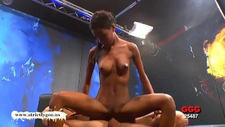 Pounded gets babe ebony zara gorgeous interracial blowjob