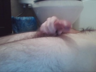 Hung young male stroking huge cock in bathroom for privacy from family