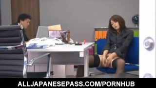 Maki Hojo enjoys dildo on her pussy  milf alljapanesepass mother uniform sex in the office hairy-cunt spy-cam beautiful face sexy stockings dildo-insertion mom