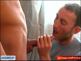 The repair guy get sucked his huge cock by the home onwer in spite of him.