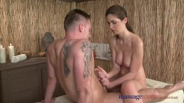 Massage Rooms Brunette goddess cums hard before wanking off big cock