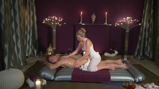 Massage Rooms Russian Teen has Intense Orgasm before being Covered in Cum