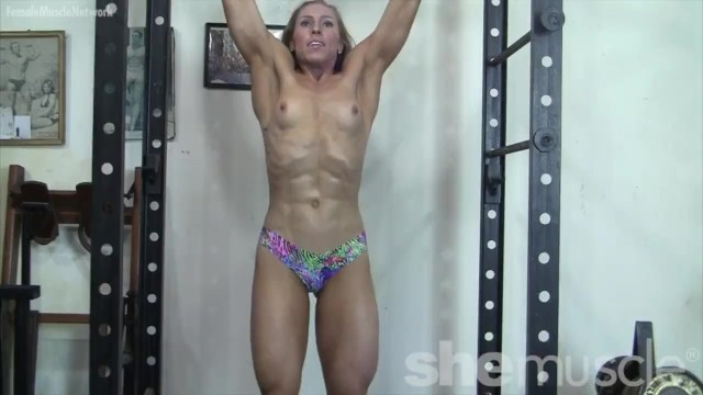 Denise paglia sexy Sexy blonde denise works her muscles topless