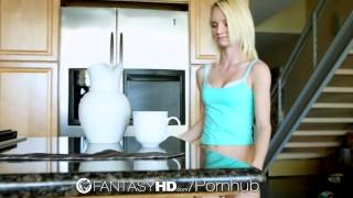 HD FantasyHD - Sammie Daniels swallows man cream after her coffee Facial skirt