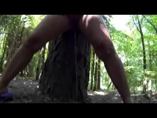 Sookie Blues pees in the woods public nudity watersports