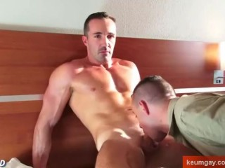 Adam a sexy fitness trainer get sucked by a guy despite of himself !