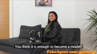FakeAgent Sexy 18 year old babe takes first time Creampie in Office Rough natural