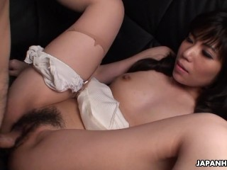 Asian bimbo sucks the dick and gets doggy styled