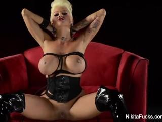 Sexy Grey Yoga Pants Fucking, NikitA Von James Gets Her Pussy Vibrated Big Tits Masturbation Toys MI