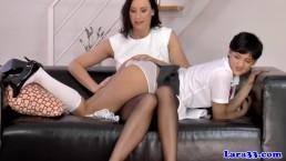 Euro mature in stockings eats schoolgirls pussy