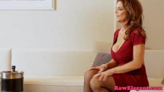 Mature pornstar Deauxma squirts in stockings Tattoo licking